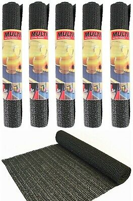 5x NON-SLIP ROLL 30x150cm Cut to Size ANTI-SLIP Rubber Fabric Grip Mat BLACK