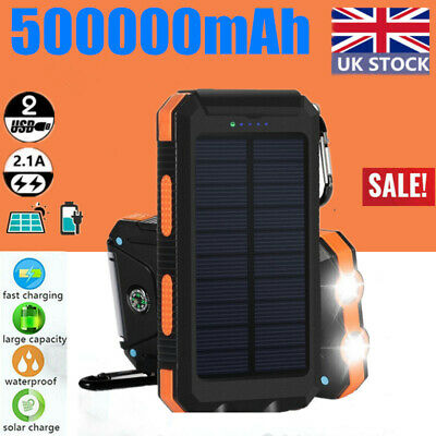 Waterproof 500000mah Power Bank 2USB Solar Pack Battery Charger For Mobile Phone