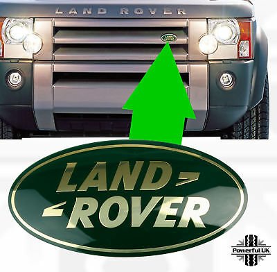 Genuine Land Rover Discovery 3 GREEN+GOLD front grille oval badge grille decal