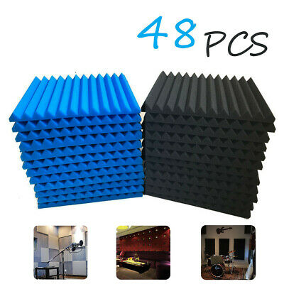 48PCS Wedge Foam Tiles Wall Studui Soundproofing Acoustic Panels Blue & Black UK