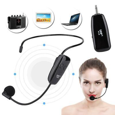 Portable Wireless Headset Microphone Fitness Tour Guide Headphone Mic Black TG
