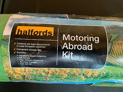Halfords Motoring Abroad Kit Headlamp Adaptors Warning Triangle Vest First Aid