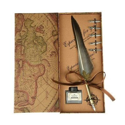 Retro Feather Pen Gift Set Quill Dip Ink Rare Stationery Creative Gift With Box