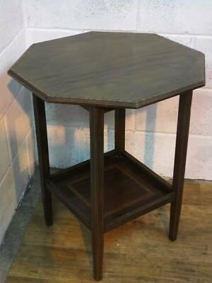 EDWARDIAN MAHOGANY INLAYED OCTAGONAL TABLE, UNDER TIER. J & B Blowers
