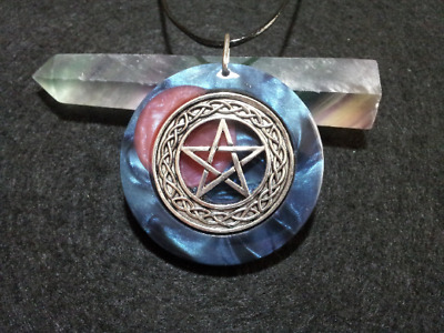 Pentacle and Moon Pendant,witchcraft,pagan,wiccan jewellery,unisex necklace