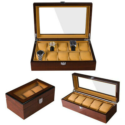 3/5/10 Slots Wooden Watch Case Display Clear Top Jewelry Storage Jewellery Box