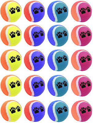 20 x Coloured Tennis Ball Pet Dog Training Toy Bouncing Puppy Game Fun Balls NEW