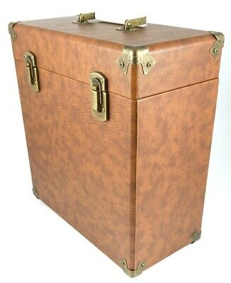 "GPO Retro Vinyl Album Case Records 12"" LPs Storage DJ Flight Box with Lid- Brown"