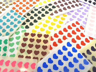 Small 10x8mm Heart Stickers, Self-Adhesive Coloured Hearts, Labels for Craft