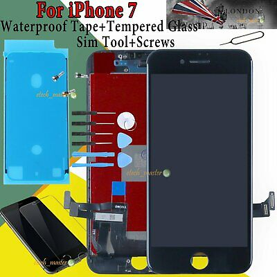 For iPhone 7 LCD Touch Screen Digitizer Display Black + Waterproof Adhesive Tape