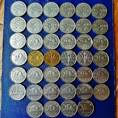 40 Canada 5 Cents 1922-1959, All Different, No 1925 or 1926, Four Varieties