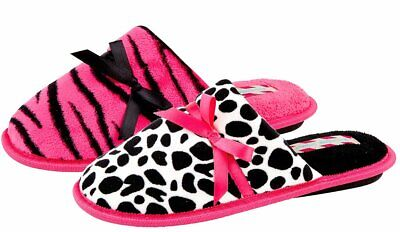 Womens Stylish Mule Slippers in Pink or White Animal Print