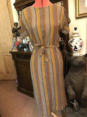 True Vintage St Michael Dress Retro Marks Spencer Stripe Gold Mustard Blue