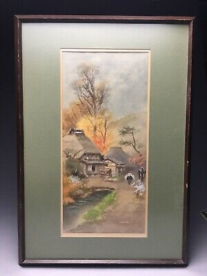 Vintage Japanese Fukutaro Terauchi Watercolor Village Landscape Painting
