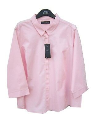 Marks /& Spencer Ladies Easy Iron Pink Shirt Plus Size 3//4 Sleeves