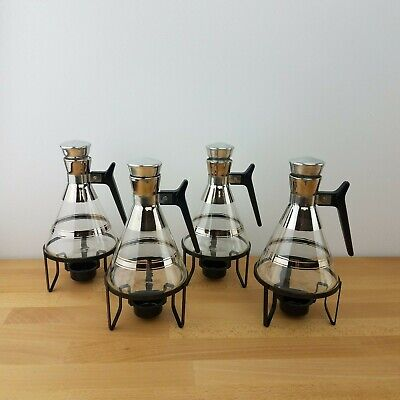 Vintage Mid Century Modern Atomic Individual Coffee Pots & Stands- Set of 4