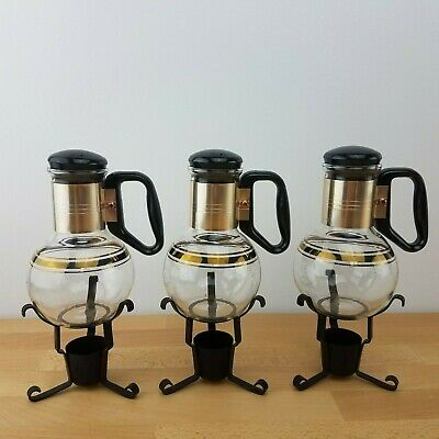Set of 3 Vintage Mid Century Modern Atomic Individual Pyrex Coffee Pots & Stands