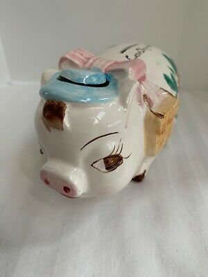 Vtg Piggy Bank Nasco Japan Ceramic Small Pig