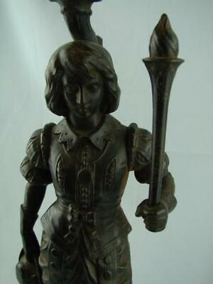 Antique Cast Oil Lamp Base, Figural Design, Cavalier With Flaming Torch