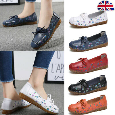 Women  Lazy Casual Loafers Ladies Lazy Floral Moccasins Soft Walking Deck Shoes