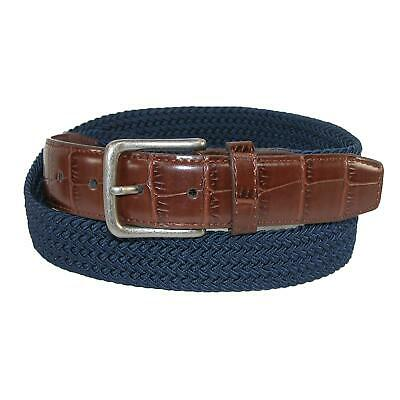 New CTM Men's Elastic Braided Golf Belt with Croco Print End Tabs