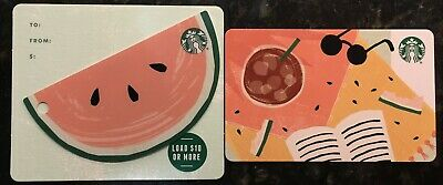 2019 STARBUCKS Summer Picnic Blanket & Watermelon Die Cut 2 Cards Card