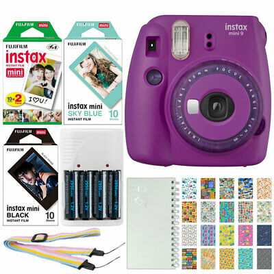 Fujifilm instax mini 9 Instant Film Camera Purple + Instax 40 + Battery& Charger