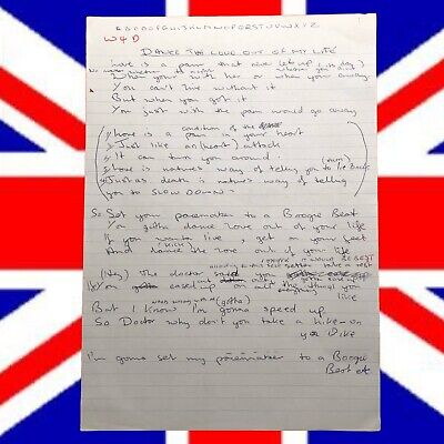 "The Who's John Entwistle Handwritten Lyrics to ""Love is a Heart Attack"" 7 Pages"