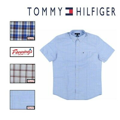 NEW Tommy Hilfiger Mens Button down Flag Logo Classic Fit Short Sleeve Shirt C35