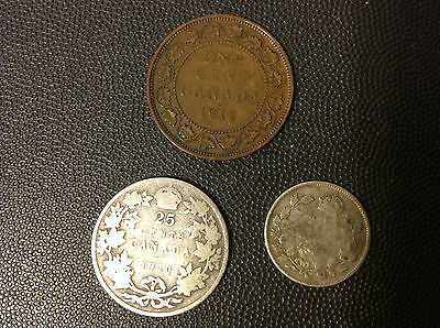 CANADA 1910-1911 25, 10, 1 CENTS LOT of 3 COINS