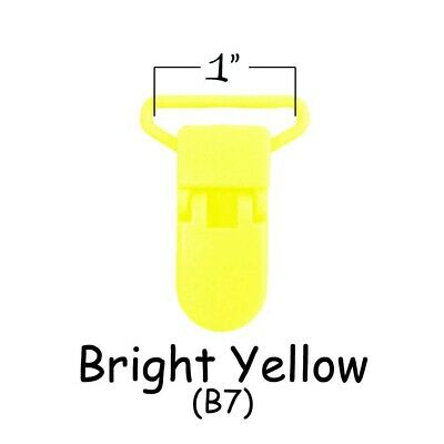 """100 Suspender Clips / Plastic Pacifier KAM Clips - 1"""" Bright Yellow"""