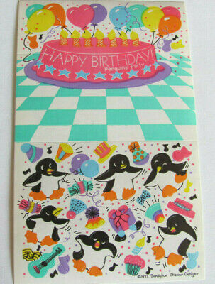 Rare Vtg 80's Sandylion Happy Birthday Penguin Party Maxi Sticker Sheet
