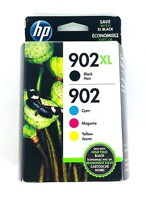 Genuine HP 902XL Black & 902 Color C/M/Y Ink NEW SEALED Box 11/2020 - Ships Fast