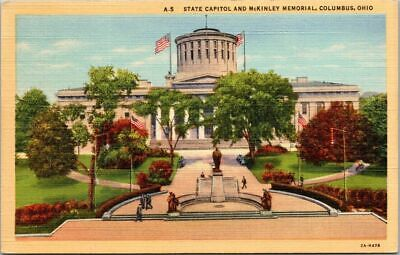 Postcard Card State Capitol Building McKinley Memorial Columbus Ohio 2A-H478