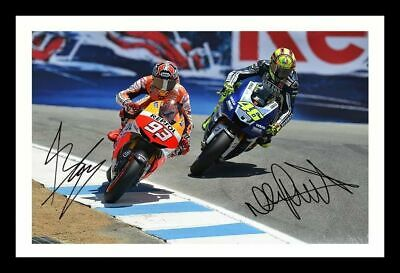 Valentino Rossi & Marc Marquez Autographed Signed Framed Pp Poster Photo