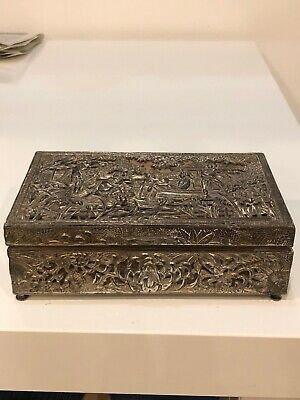 Antique c19 Chinese Footed Hand Carved Brass, Rosewood Lined Cigar/Jewellery Box