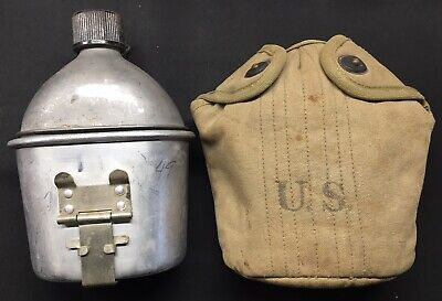 World War Ww Ii U.s. Army Canteen, Cup And Cover Set Dated 1944 1945
