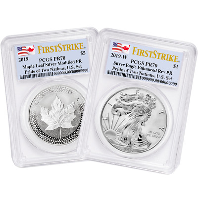 2019 Pride of Two Nations 2pc. Set U.S. Set PCGS PR70 FS Dual Flag Label