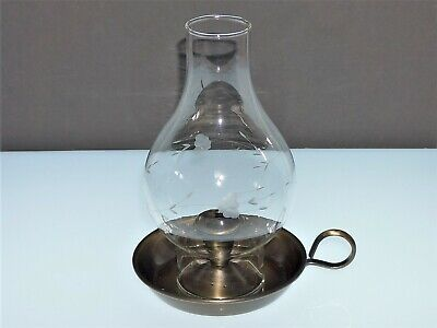 "Princess House ""Heritage"" (322) Crystal/Brass Candle Chamberstick/Hurricane Lamp"