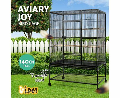 iPet Large Bird Cage Pet Parrot Aviary Perch Stand Alone Canary Budgie on Wheels