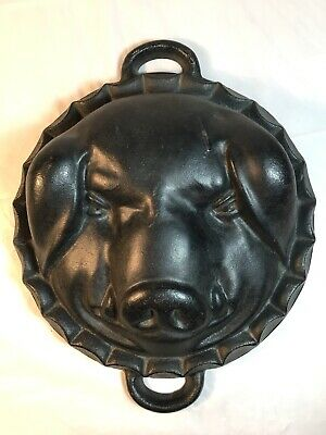 Vintage Antique Cast Iron Mold Pig Head, Large, Baking