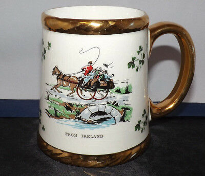 "Carrigaline Pottery (Cork) Mug. 4"" Gold Rimmed. Illustrated from Ireland."