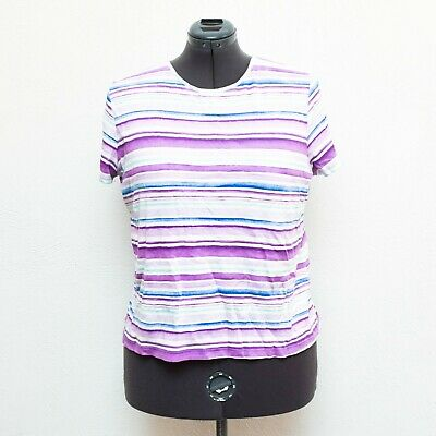 Women/'s Croft /& Barrow top shirt Size 3X Short sleeve Purple Striped shirt New