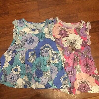 Baby Gap Size 2T Girls Blue Purple Pink Floral Empire Knit Tops Tee Shirts