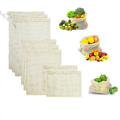 1/5/10pc Reusable Mesh Produce Bags Grocery Shopping Eco Vegetable Fruit Storage