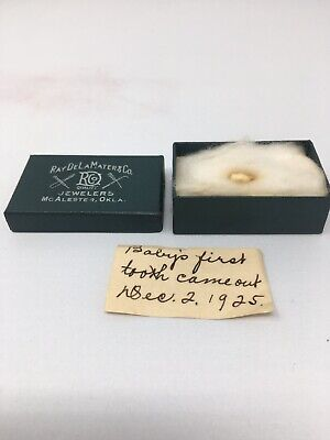 ANTIQUE VINTAGE HUMAN BABY TOOTH WITH BOX 1925 McALESTER, OKLA