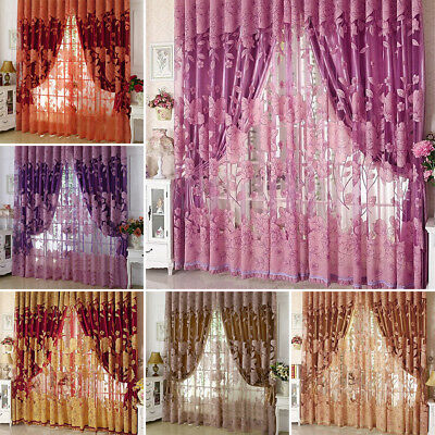 Luxurious Jacquard Window Curtains Burnout Tulle for Living Room Bedroom Door US