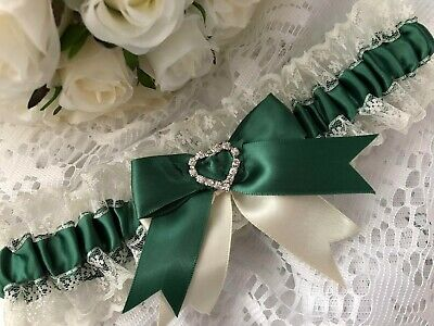 WEDDING GARTER DARK GREEN SATIN AND IVORY LACE HEARTS bridal shower gift bride