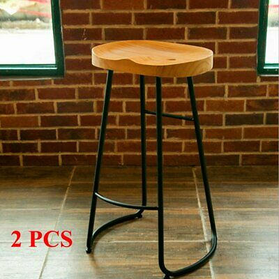 Set of 2 Industrial Rustic Bar Stools Kitchen Breakfast High Chair Wood Pub Seat