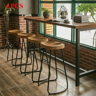 1/2/4PCS Industrial Bar Stool Rustic Metal Vintage Backless Counter High Chair